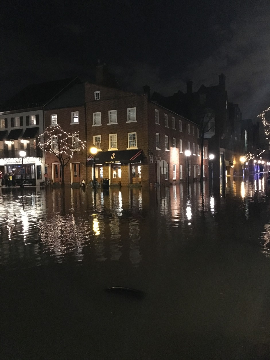 Flooded streets in Old Town Alexandria on Feb. 24, 2016. (Courtesy WTOP listener)