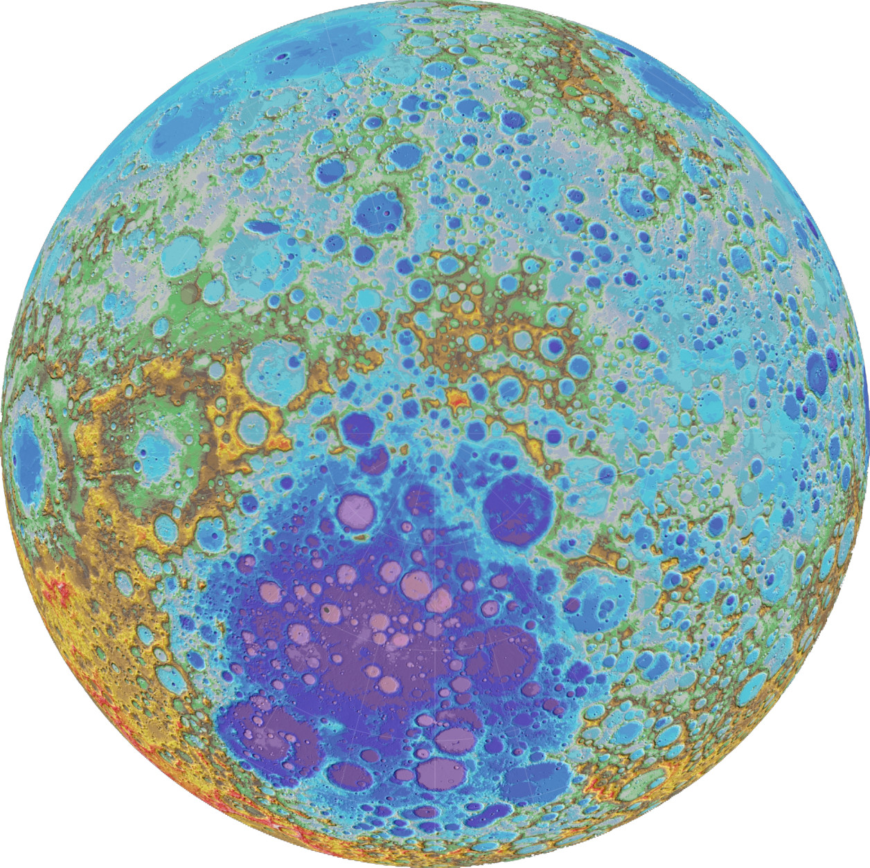 In this view of the Moon, the South Pole is at the center. The colors represent different elevations. The large, roughly circular, low-lying area (deep blue and purple) is the South Pole–Aitken Basin, the largest and deepest impact feature on the Moon. (NASA/Goddard Space Flight Center/Arizona State University)