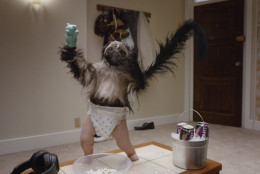 """This image provided by Mountain Dew shows a """"Puppymonkeybaby"""" in a scene from the company's Kickstart spot for Super Bowl 50. (Mountain Dew via AP)"""