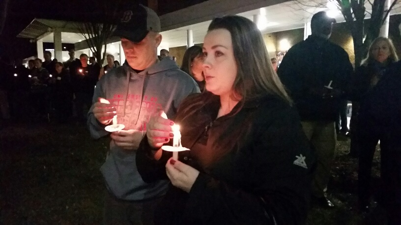 A candlelight vigil was held for Prince William County officer Ashley Guindon at the Sean T. Connaughton Community Plaza in Woodbridge, Va. on Sunday, Feb. 28, 2016. (WTOP/Kathy Stewart)