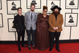 Heath Fogg, from left, Steve Johnson, Brittany Howard, and Zac Cockrell of Alabama Shakes arrive at the 58th annual Grammy Awards at the Staples Center on Monday, Feb. 15, 2016, in Los Angeles. (Photo by Jordan Strauss/Invision/AP)