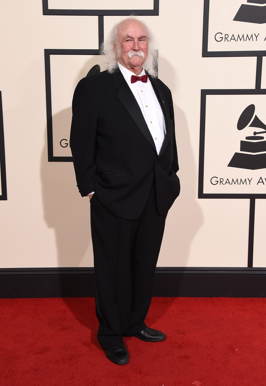 David Crosby arrives at the 58th annual Grammy Awards at the Staples Center on Monday, Feb. 15, 2016, in Los Angeles. (Photo by Jordan Strauss/Invision/AP)