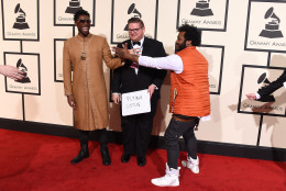 Flying Lotus, left, and Thundercats arrive at the 58th annual Grammy Awards at the Staples Center on Monday, Feb. 15, 2016, in Los Angeles. (Photo by Jordan Strauss/Invision/AP)