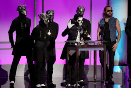 "Ghost accepts the award for best metal performance for ""Cirice"" at the 58th annual Grammy Awards on Monday, Feb. 15, 2016, in Los Angeles. (Photo by Matt Sayles/Invision/AP)"