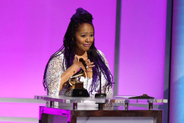 "Lalah Hathaway accepts the award for best traditional R&B performance for ""Little Ghetto Boy"" at the 58th annual Grammy Awards on Monday, Feb. 15, 2016, in Los Angeles. (Photo by Matt Sayles/Invision/AP)"