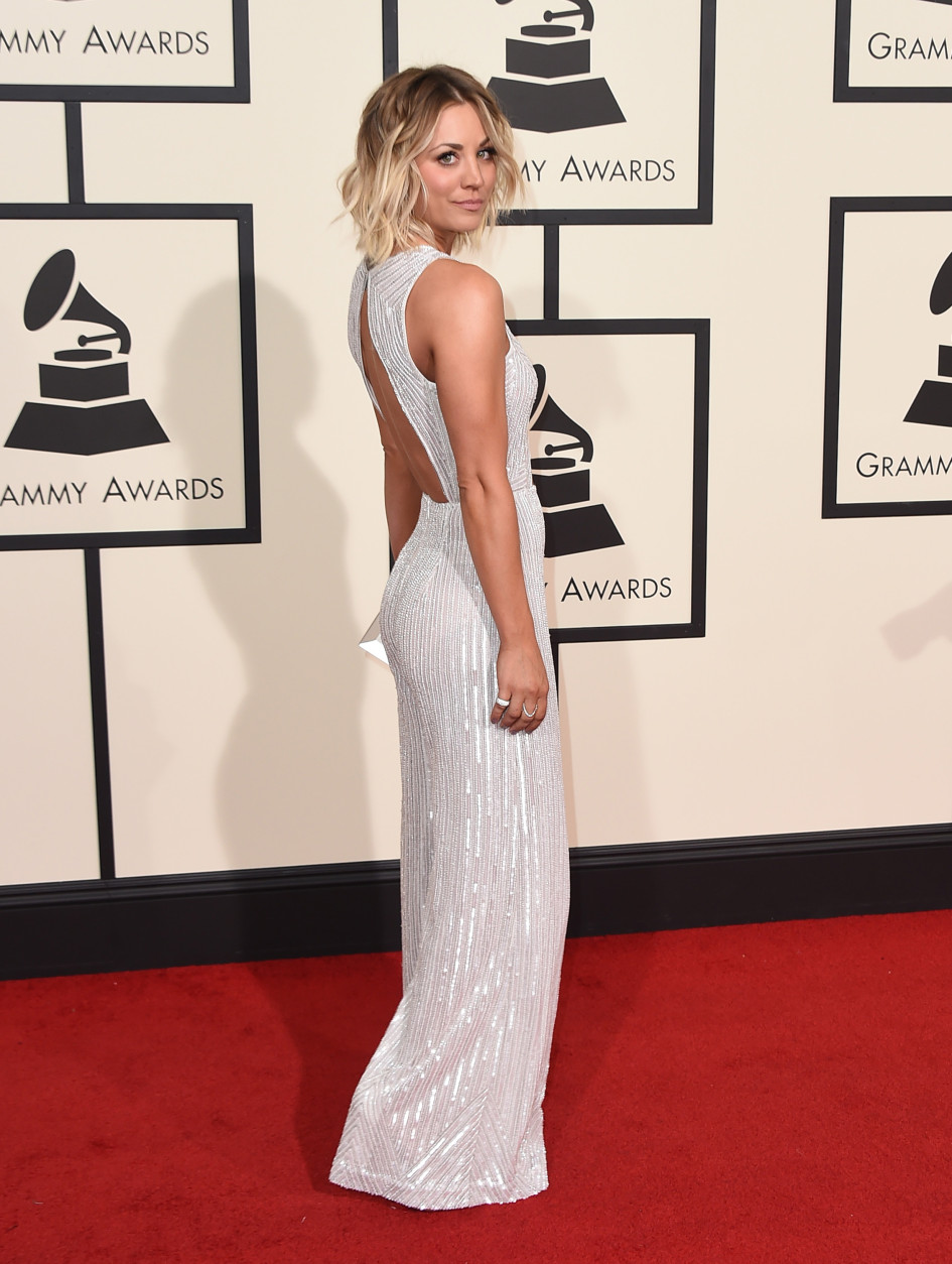 Kaley Cuoco arrives at the 58th annual Grammy Awards at the Staples Center on Monday, Feb. 15, 2016, in Los Angeles. (Photo by Jordan Strauss/Invision/AP)
