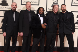 John Connolly, from left, Vince Hornsby, Lajon Witherspoon, Morgan Rose and Clint Lowery, of Sevendust, arrive at the 58th annual Grammy Awards at the Staples Center on Monday, Feb. 15, 2016, in Los Angeles. (Photo by Jordan Strauss/Invision/AP)