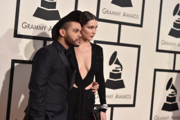 The Weeknd, left, and Bella Hadid arrive at the 58th annual Grammy Awards at the Staples Center on Monday, Feb. 15, 2016, in Los Angeles. (Photo by Jordan Strauss/Invision/AP)