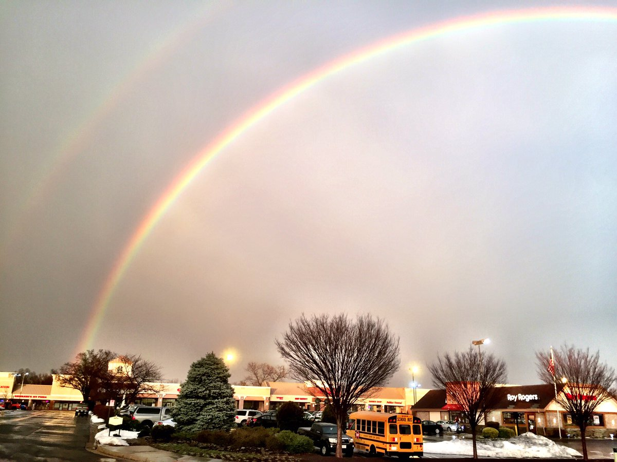A double rainbow in spotted in Leesburg, Virginia Wednesday evening. (WTOP/Neal Augenstein)