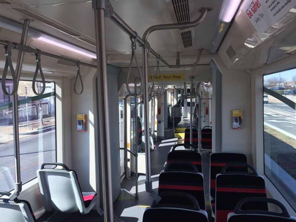 An empty D.C. streetcar. (WTOP/Max Smith)