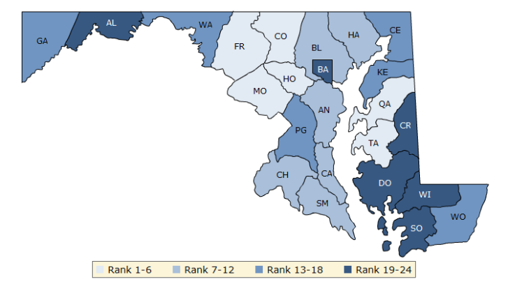 What are the healthiest counties in Md Va WTOP