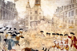The Boston massacre in which British troops opened fire on a crowd, killing five people and inflaming American opinion. Original Artwork: Picture by Paul Revere (1735 - 1818).   (Photo by MPI/Getty Images)