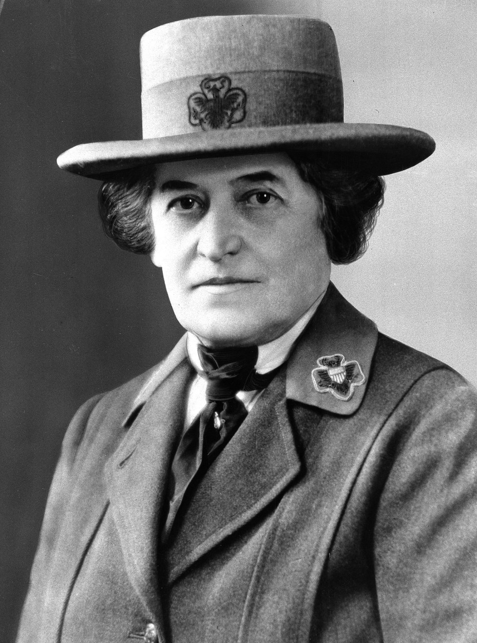 FILE - This undated file photo shows Juliette Gordon Low of Savannah, Ga. Low founded the U.S. Girl Scout movement in 1912 and lived to see the organization reach a membership of more than 168,000. She died in 1927. Low's original registration book from March of 1912 shows 102 recruits. Now a century has passed and millions of Americans have taken the Girl Scout promise, sold Samoas and Thin Mints by the truckload and gone on to careers from CEOs to astronauts. (AP Photo/File)
