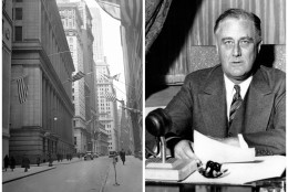 This combination of Associated Press file photos shows, left, the financial district during a two-day bank holiday on March 4, 1933, and President Franklin D. Roosevelt about to deliver a fireside chat to the American people on March 12, 1933. On March 15, 1933, the Dow had its biggest percent gain. The stock market had been closed after President Franklin D. Roosevelt temporarily shut down the banks and the government passed an emergency act where the Federal Reserve essentially agreed to insure banks' deposits. (AP Photo/File)
