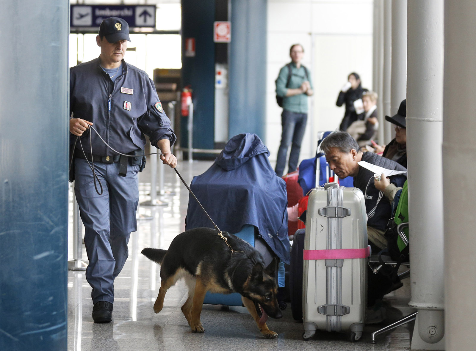 A Italian police dog sniffs passengers' luggage at Leonardo Da Vinci airport in Fiumicino, near Rome, Tuesday, March 22, 2016. Authorities in Europe and beyond have tightened security at airports, on subways, at the borders and on city streets after deadly attacks Tuesday on the Brussels airport and its subway system. (AP Photo/Alessandra Tarantino)