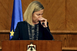 "European Union Foreign Policy Chief Federica Mogherini, reacts to the latest news on the Brussels attacks, during a news conference with Jordanian Foreign Minister Nasser Judeh in Amman, Jordan, Tuesday, March 22, 2016. Mogherini, fighting back tears, has stopped short a news conference in Jordan after saying that ""today is a difficult day,"" in reference to the Brussels attacks. (AP Photo)"