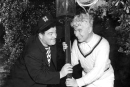 Charles Chaplin, right, and Lou Costello are shown in Los Angeles, Ca., in 1942.  (AP Photo)