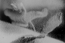 Second photo of a three-picture sequence showing Soviet Cosmonaut Alexei Leonov as the first man to venture outside a space ship in outer space, March 18, 1965.  Here he floats free of the Voshkod-2 capsule.  Projection at right is movie camera to record his maneuvers.  Photos are from Moscow TV screen during showing of what Soviet officials said were TV pictures transmitted March 18 from the space ship. (AP Photo/Tass)