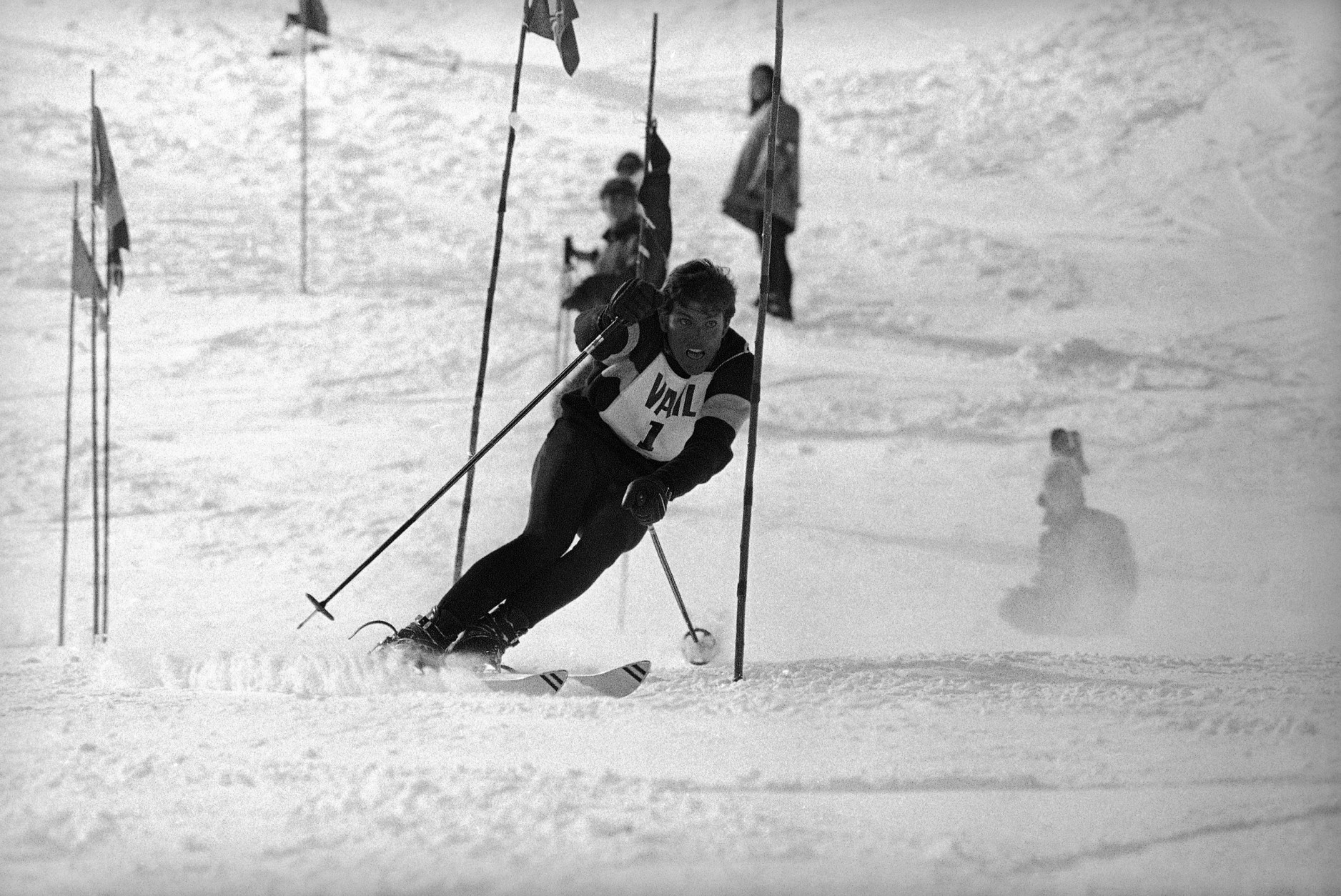 """Vladimir """"Spider"""" Sabich of Kyburz, Calif., spins through gate in men's slalom at Vail International Team races on March 7, 1969. Sabich, who had best time in first run, placed fifth, the only American in the top 15. Austria was first, France second and U.S. tied for third with Switzerland. (AP Photo/Robert D. Scott)"""