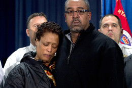 The parents of police officer Jacai Colson, James and Sheila Colson attend a news conference at Prince George's County Police headquarters Monday, March 14, 2016, in Hyattsville, Md. Colson, a four-year veteran of the force was shot outside the District III police station. Colson, a four-year veteran of the force and a undercover narcotics officer was mortally wounded by his own colleagues as he responded to an attack on his police station by a gunman with a death wish, their police chief angrily explained on Monday. ( AP Photo/Jose Luis Magana)