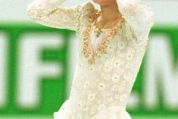 New world champion Tara Lipinski reacts after her free program at the World Figure Skating Championships in Lausanne, Switzerland on Saturday, March 22, 1997. The 14-year-old Lipinski is the youngest ever to win the world title. (AP Photo/Lynne Sladky)