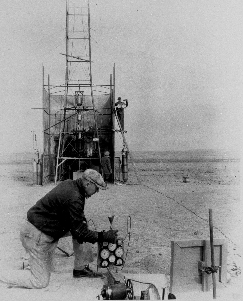 Dr. Robert H. Goddard is pictured working on his experimental rockets in Roswell, N.M. in an undated photo. (AP Photo)