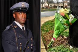 A bouquet of flowers is left outside the crime scene in Landover, Maryland, Monday where a Prince George's County police officer was shot in an attack on the police station there Sunday afternoon. Officer Jacai Colson had worked for the department for four years. (Prince George's County Police and Neal Augenstein/WTOP)