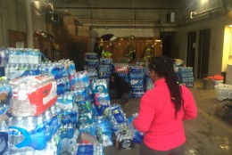 Local fire departments in Prince George's County are collecting water for Flint, Michigan. (WTOP/Mike Murillo)