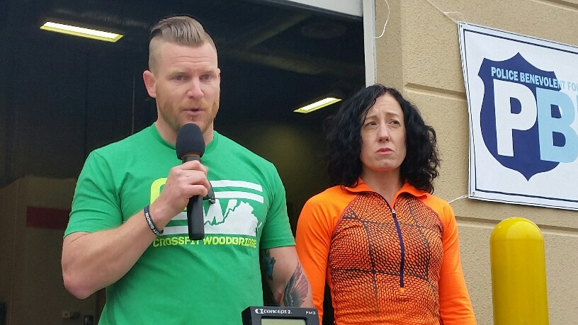 A photo of CrossFit Woodbridge owner Dan Boughton and Joanna Guindon, aunt of a slain Prince William County police officer