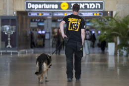 "An Israeli airport security guard patrols with a dog in Ben Gurion airport near Tel Aviv, Israel, Tuesday, March 22, 2016. After the Brussels attacks, Israel briefly announced that all Israeli flights from Europe were canceled, then reinstated the flights, Israel Airports Authority spokesman Ofer Leffler said. Pini Schiff, former director of security at Ben-Gurion Airport, said the attack in the Brussels airport was ""a colossal failure"" of Belgian security, and he said ""the chances are very low"" that such a bombing could take place in Israel's airport. Israel's Ben-Gurion Airport is considered among the most secure in the world, an outcome stemming from several Palestinian attacks on Israeli planes and travelers in the 1970s. (AP Photo/Ariel Schalit)"