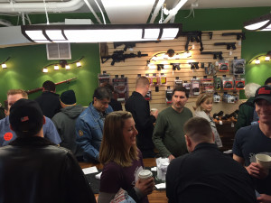 Supporters pack Nova Park Armory gun shop during it's opening in Arlington, Virginia on Saturday, March 26, 2016. (WTOP/Dennis Foley)