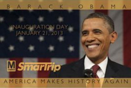 The commemorative SmarTrip card for President Obama's second inauguration, in 2013. (WMATA)