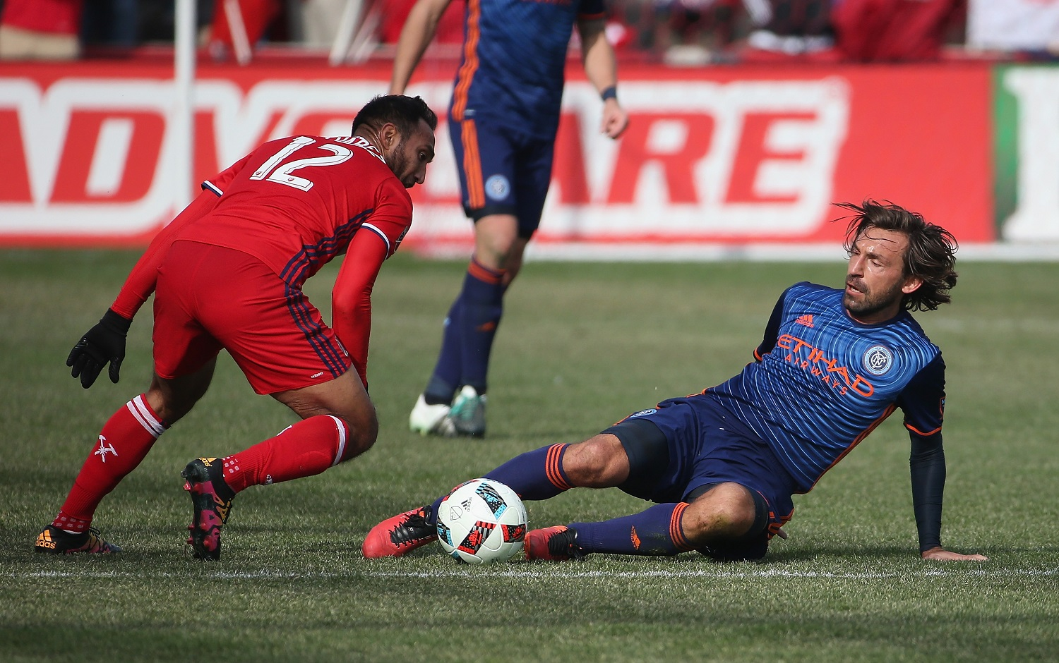 BRIDGEVIEW, IL - MARCH 06: at Toyota Park on March 6, 2016 in Bridgeview, Illinois. The New York City FC defeated the Fire 4-3. (Photo by Jonathan Daniel/Getty Images)