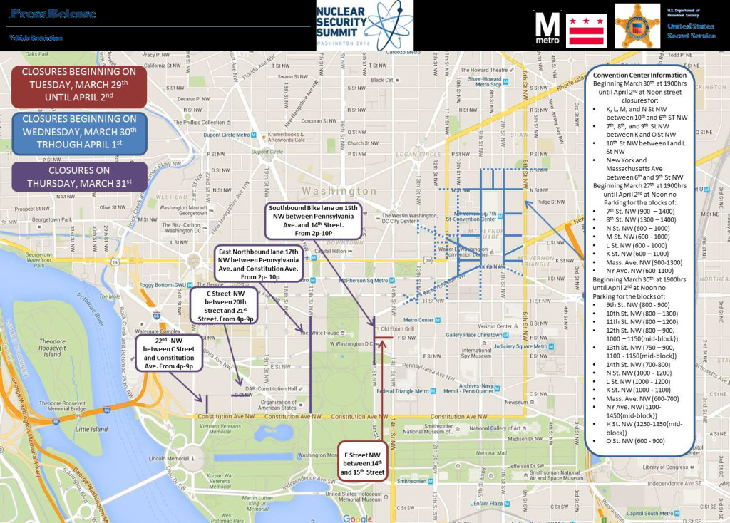 A Map Of Closures For The 2016 Nuclear Security Summit At The Walter White Convention