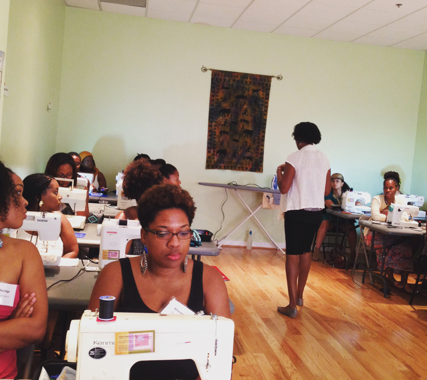At Sip & Sew events, beginners learn to make a basic garments, like skirts and pants, with the extra help of wine. The events are held throughout the D.C. region. (Courtesy Sip & Sew DC)