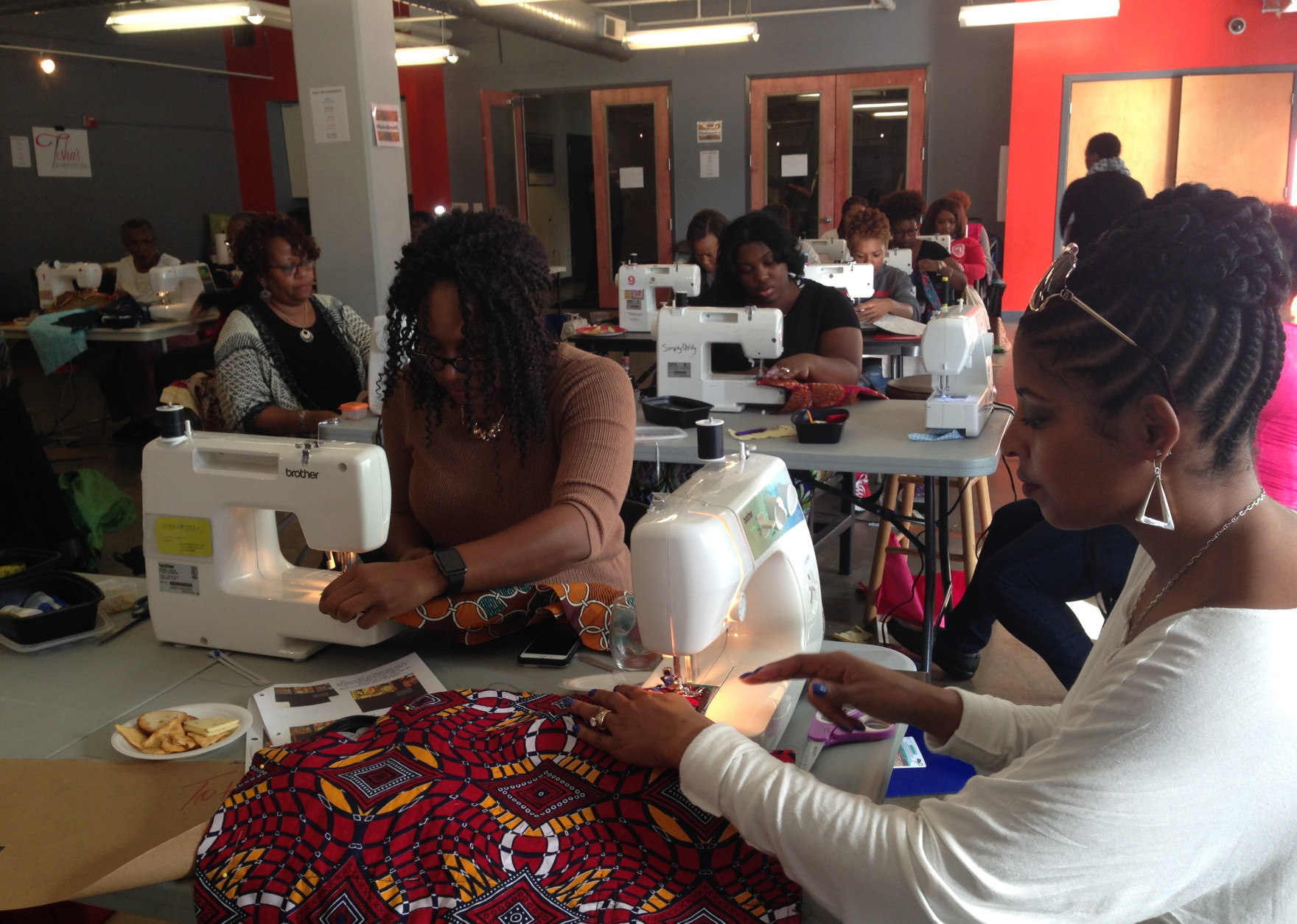 There aren't many options for people to learn to sew in the D.C. region, one of the reasons Sip and Sew workshops such as this one have become so popular. (Courtesy Sip & Sew DC)