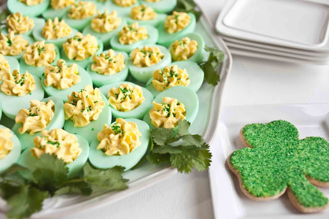 """Deviled eggs are a go-to for starting off St. Patrick's Day with something delicious and festive. You can stick with a traditional recipe, or as <a href=""""http://www.foodjimoto.com/2013/03/st-patricks-day-deviled-eggs.html"""">Foodjimoto.com</a> suggests, add green food coloring to your egg whites. (Courtesy Karolyn Fujimoto/Foodjimoto.com)"""