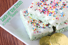 """<a href=""""http://www.ohmy-creative.com/holiday-crafts/st-patricks-day/luck-of-the-trish-rice-krispie-treats/"""">At Oh My! Creative</a>, you can find Luck of the Irish Rice Krispies Treats that are festive and frugal. (Courtesy Susan Boroch/Oh My! Creative)"""