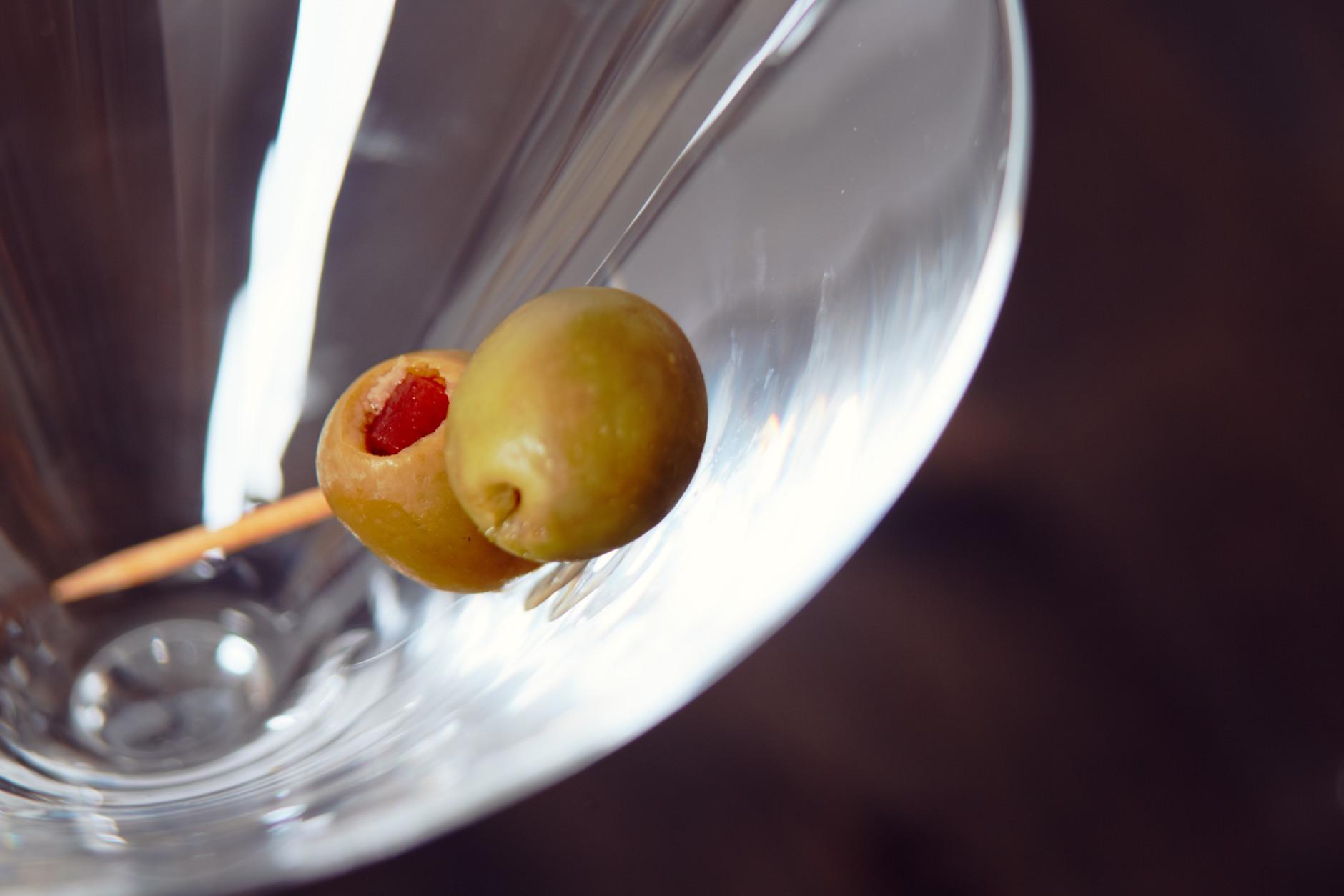 Cockatil Olives in Martini Glass