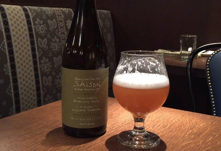 """Blackberry Farm Noble Cuvée Dry Hop Saison pairs well with """"literally everything"""" acccordnig to Greg Engert, Neighbrohood Restaurant Group Beer Director. (WTOP/Brennan Haselton)"""