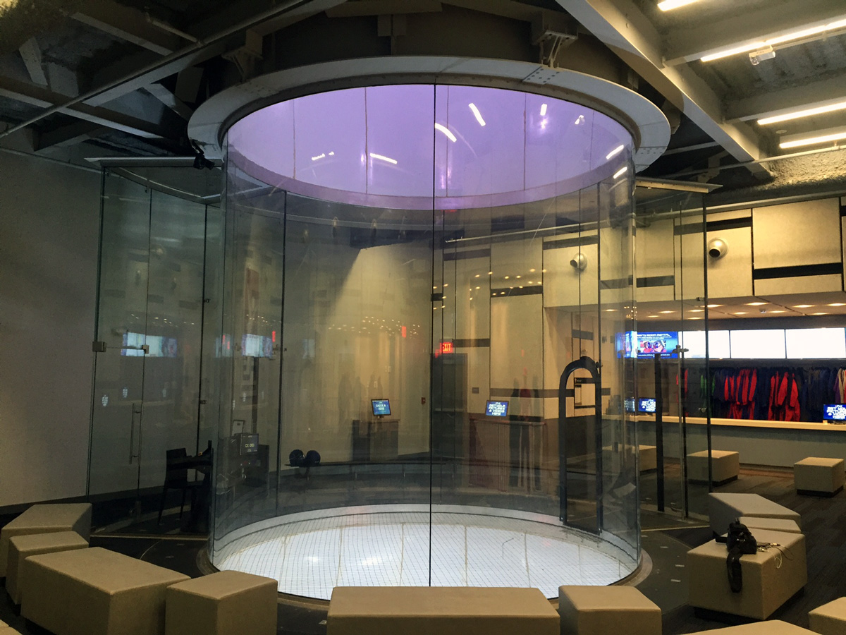 The flight chamber at iFLY, a new indoor skydiving facility in Ashburn, Virginia. (WTOP/John Aaron)