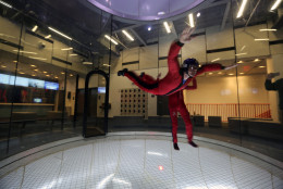 WTOP's John Aaron tries out the flight chamber at iFLY, a new indoor skydiving facility in Ashburn, Virginia. (WTOP/John Aaron)