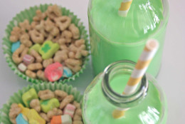 """If you're looking for an extremely simple way to kick off the holiday with your kids (or even if you're just a child at heart), try blogger <a href=""""http://www.thoughtfullysimple.com/a-lucky-breakfast/"""">Thoughtfully Simple</a>'s idea for Lucky Charms cereal with green milk. (Courtesy Thoughtfully Simple)"""