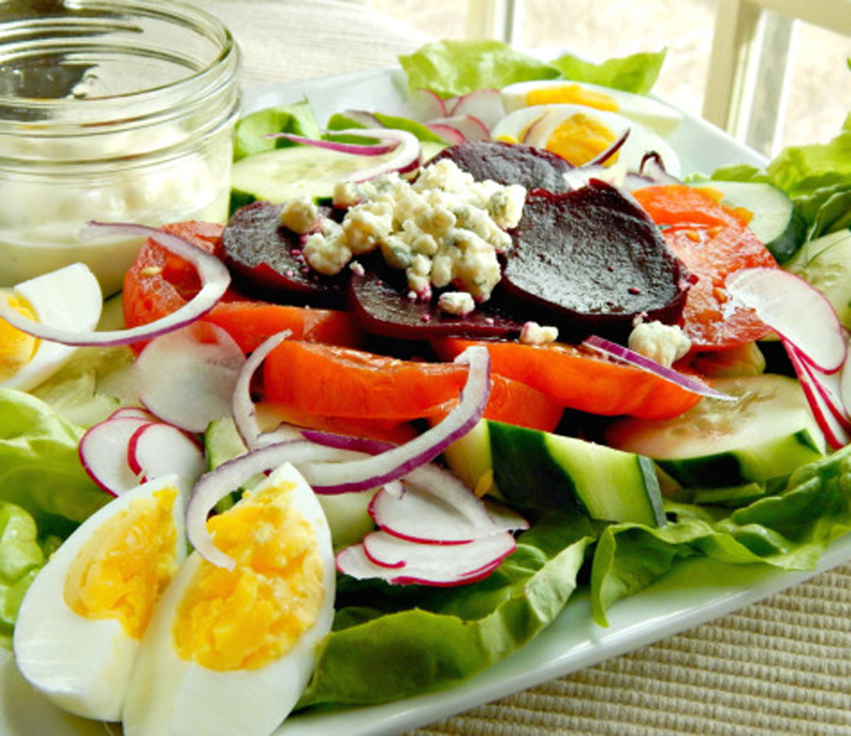 """For a light and fresh start to your St. Patrick's Day meal, try <a href=""""http://frugalhausfrau.com/2015/03/13/irish-pub-salad/"""">The Frugal Hausfrau</a>'s Irish pub salad. This blogger uses in-season vegetables such as bibb and butter lettuces as a base for the salad, and tops it off with pickled beets, hardboiled eggs and bleu cheese."""