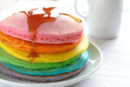 """Need something a little more kid-friendly than deviled eggs? Try <a href=""""http://iambaker.net/perfect-rainbow-pancakes/"""">I Am Baker</a>'s guide to making old-fashioned pancakes with a little bit of food coloring — transforming the meal into a full rainbow of colors. (Courtesy I Am Baker)"""