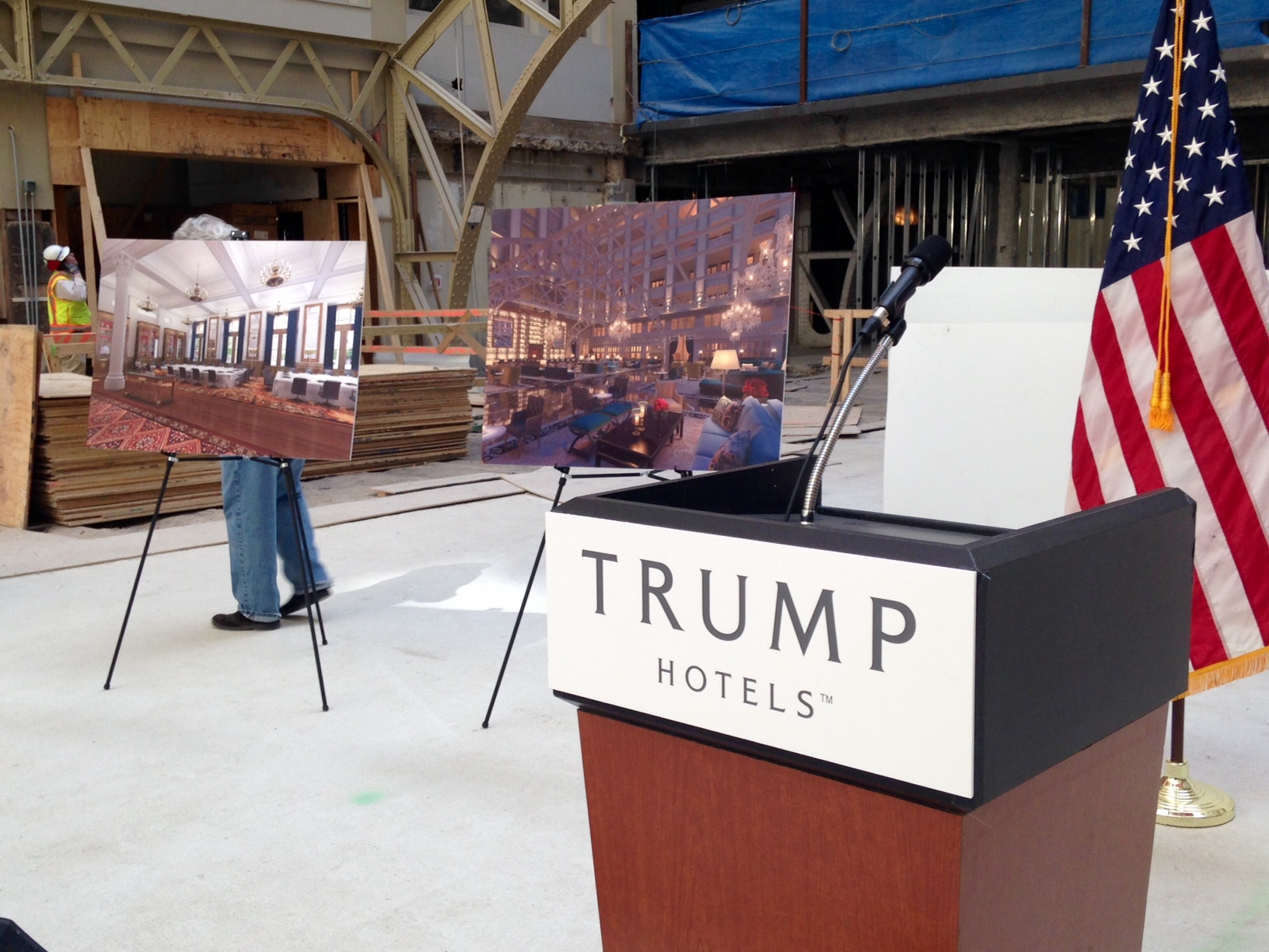 Donald Trump spoke briefly about the hotel design before moving to questions about his campaign. (WTOP/Megan Cloherty)