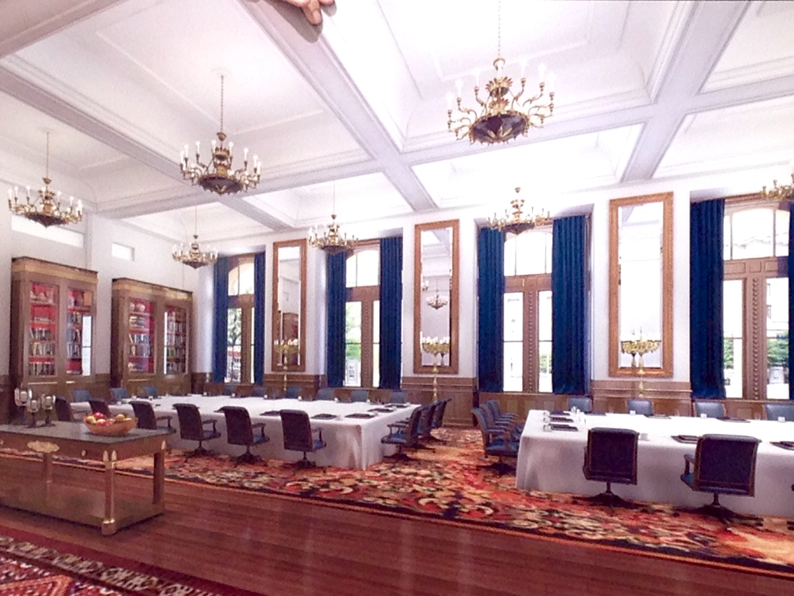 An artist's rendering of the ballroom that Donald Trump says will be the largest in the Washington area. (WTOP/Megan Cloherty)