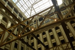 A view of the skylight above the atrium that will serve as the hotel's lobby. (WTOP/Megan Cloherty)