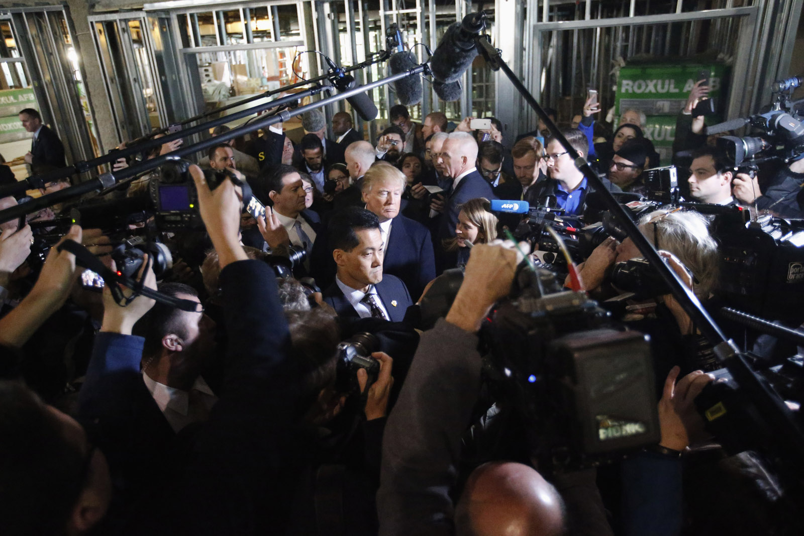 Republican presidential candidate Donald Trump listens to a reporter's question during a tour of the Old Post Office Pavilion, soon to be a Trump International Hotel, Monday, March 21, 2016 in Washington. (AP Photo/Alex Brandon)