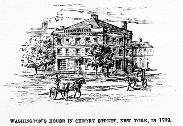 Illustration showing an exterior view of George Washington's house, known as the Samuel Osgood House or the Walter Franklin House, located on 1 Cherry Street, with carriage traffic at the intersection, in New York, 1789. Washington occupied the house while President, during the time that New York was the capital of the country. Published in Harper's Encyclopaedia of United States History, volume 10, 1912. (Photo by Interim Archives/Getty Images)